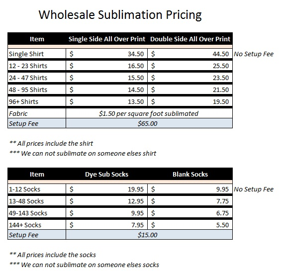 Wholesale Dye Sublimation Pricing